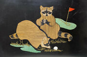 Couroc Of Monterey Tray Inlaid Mineral Metals Enamel Raccoons On Golf Course