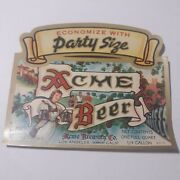 Irtp Acme Party Size 32 Oz. Beer Label Acme Brewing Co. Los Angeles Calif.