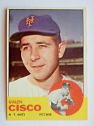 Galen Cisco 93 Topps 1963 Baseball Card New York Mets Vg