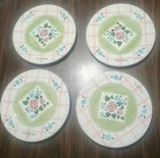 Mary Engelbreit Me Ink Set Of 4 Flowers Hand Painted Art Plates 8 Inch Plates.