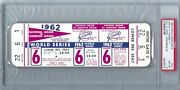 1962 World Series Game 6 Full Ticket Roger Maris Hr Psa 8