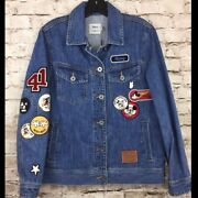 Coach X Disney Mickey Mouse Denim Jean Jacket Small Club Patches Pins New