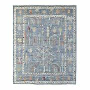 8'1x9'10 Denim Blue Angora Oushak With Cypress Hand Knotted Wool Rug G67208