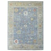 9and039x11and03910 Hand Knotted Angora Oushak Organic Wool Light Blue Oriental Rug G67254