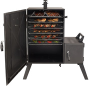 Vertical Offset Charcoal Smoker Wide Body Meat Slow Cooker Barbecue Black Bbq