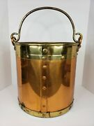 Vintage Copper Brass Bucket Pot Planter Riveted W/handle Made England 12 Tall