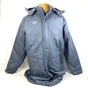 Under Armour Mens Cold Gear Loose Fit Hooded Parka Jacket Gray Size Xl 1259104