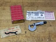 Starrett 0-1/2 Od Micrometer No 232 Ratchet Stop Carbide Tipped Box Excellent