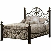 Hillsdale Mikelson King Metal Poster Bed In Aged Antique Gold