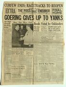 Front Page The Post Enquirer Newspaper May 9th 1945 Oakland Ca Goering Wwii
