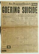 Front Page San Francisco Chronicle Newspaper Oct 16th 1946 Goering Suicide Wwii