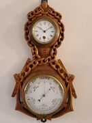 Antique 1800and039s French Victorian Carved Oak Nautical Anchor Wall Barometer Clock