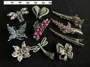 10 Rhinestone Hair Clips Variety Lot Of 10 Butterfly Flower Heart Dragonfly