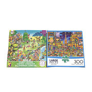 Lot Of 2 300 Piece Puzzles Times Square Buffalo Comic Capers Ceaco Large Pieces
