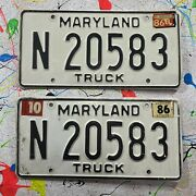 Vintage Matching Pair 1980's Maryland Truck License Plates N 20583 Classic