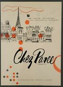 Vintage C.1960 Chez Paree Chicago Menu With Phil Ford And Mimi Hines Autographs