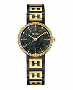 Womens Black Pvd And Yellow Gold Pvd Fendi Watches Forever Fendi F102221701