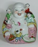 Vintage Ceramic /porcelain Laughing Buddha With 5 Children Statue Almost 9inch