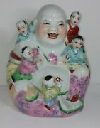 Vintage Porcelain Laughing Buddha With Children Statue 6.5
