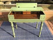 Antique Spinet Writing Desk Painted Green
