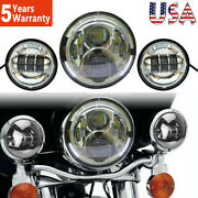 7 Inch Led Halo Headlight And 4.5 Fog Passing Lights For Harley Motorcycle 6500k