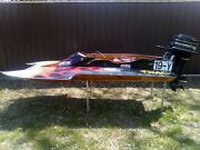 Vintage Wood Hydroplane Racing Boat W/ Engine Used For Parts Restoration 10ft