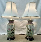 """Pair Famile Rose Chinoiserie Table Lamps Book Matched Hand Painted 34 1/2"""""""