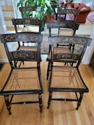 Antique 6 Hitchcock-type Dining Room Chairs, Cane Seats, Circa 1830.