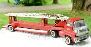 Vintage Tonka Toy Large Pressed Metal Firetruck Extending Ladder Trailer And Cab
