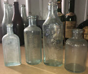 Collection Of 4 Antique Embossed Aqua Glass Bottles Scott's Sea Gull Atwoods +