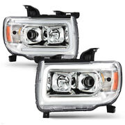 For 15-21 Gmc Canyon Led Neon Tube Drl Projector Headlight Chrome Driving Lamp