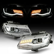 [white And Amber Dynamic Led Tube] Chrome Headlights Lamp Fit 2016-18 Chevy Camaro