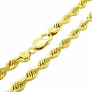 10k Yellow Gold Solid Wide 7mm Diamond Cut Rope Chain Necklace Lobster Clasp 24