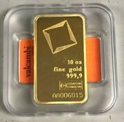 Valcambi Suisse 10 Oz Gold Bar .9999 Sealed With Assay Certificate 24 Karat