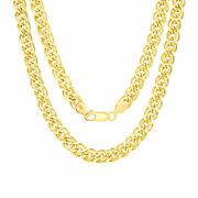 10k Yellow Gold 6mm Double Cuban Curb Link Chain Pendant Necklace Italy 18- 30