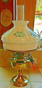 New Brass Electrified Aladdin Oil Lamp W/glass Shade And Blue Flowers Vintage