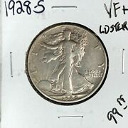 1928-s Walking Liberty Silver Half Dollar Vf+ Luster Nice Coin