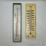 Vintage Thermometers Taylor And Couper Lot Of 2 Metal Wallhanger Thermometer Usa