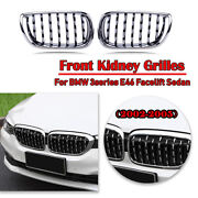 Car Diamond Style Front Kidney Grill Grille Mesh For Bmw E46 4 Door 2002-2005