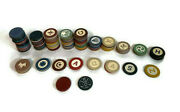 Lot Of 146 Vintage Clay Poker Chips Scottie Dogs, Golfers, Harps And More