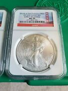 2013 S Silver Eagle Er Ms70 Trolley Cart Label Ngc 2 Coin Set