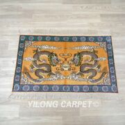Yilong 2and039x3and039 Yellow Handmade Silk Tapestry High Density Unique Area Rug 064h