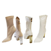 Cape Robbin Ella-3 Shiny Patent Pointed Toe Block Clear Perspex Heel Ankle Booti