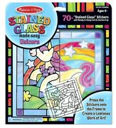 Melissa And Doug Stained Glass Unicorn Diy Kit Set 70+ Stickers Frame Picture