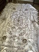 Antique Linen Cream Hand Embroidered Cutwork Large Tablecloth Downton Abbey