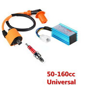 For 50-160cc 4-stroke Atvs Pit Dirt Bikes 5-pins Cdi+ignition Coil+spark Plug