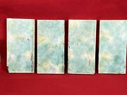 4 Vintage Tiles, Blue/green/yellow Colors 6 X 3 Salvaged, Used, Accent Pcs