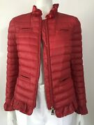 Love Moschino Size Small Red Quilted Nylon Ruffle Zip Front Bomber Jacket