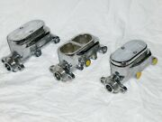 Lot Of 3 Chrome Flat Top Street Rod Master Cylinders 9/16 1/2 For Parts Repair