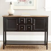 Black And Oak Wood Buffet Sideboard Kitchen Dining Room Storage Console Table